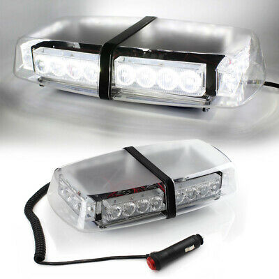 FOXCID Rooftop 24 LED Strobe Light White Mini Flash Warning Emergency 12V Truck