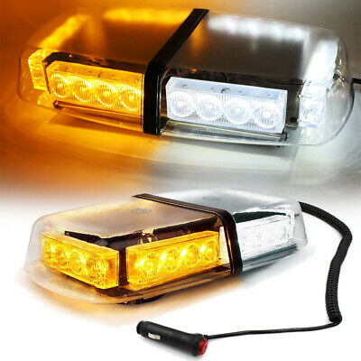 FOXCID 24 LED White Amber Flashing Emergency Warning Strobe Light Bar Roof Top