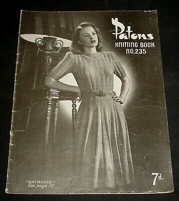 VINTAGE 1940s PATONS KNITTING BOOK # 235  WOMENS TOPS , DRESS