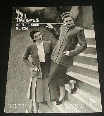 VINTAGE 1940s PATONS KNITTING BOOK # 236  WOMENS TOPS