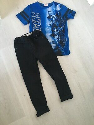 Boys Black Primark Skinny Jeans 6-7 With Avengers Tshirt Bundle Outfit