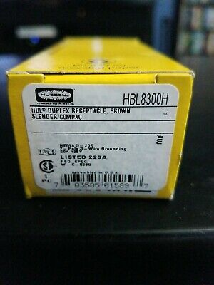Hubbell HBL8300H Brown Hospital Grade Receptacle 20A 125V 5-20R
