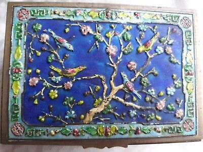 Antique Cloisonne Repousse Enamel Chinese  Humidor Jewel Box With Birds