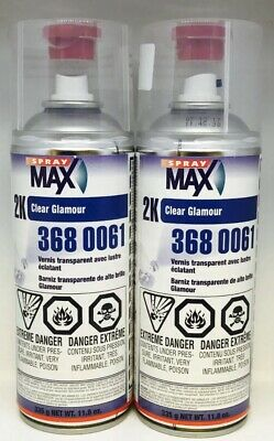 2 Cans Usc-3680061 Spraymax 2K Glamour Clear Gloss Clearcoat Aerosol(Usc3680061)