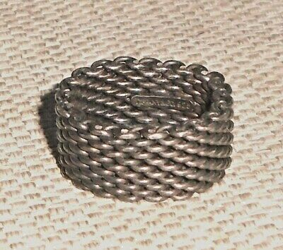 Vintage Authentic Mesh Ring Sterling Silver 925 TIFFANY & Co Signed 513w