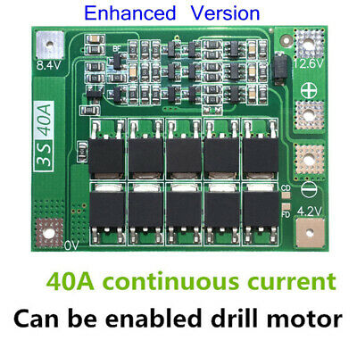 3S 40A 12.6V Li-ion Lithium Battery 18650 Charger PCB BMS Board Lipo Cell Module