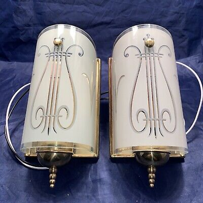 Nice Pair Antique Art Deco Mid Century Wall Sconce Sconces Rewired 87B