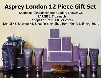 ASPREY Purple Water Luxury Collection RITZ 12 Piece Amenity Gift Set LG 1.7oz