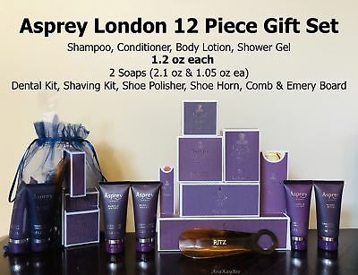 ASPREY Purple Water Luxury Collection RITZ 12 Piece Amenity Gift Set 1.2 oz ea