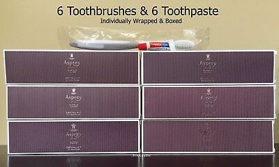 ASPREY Ritz 6 Sealed Dental Kits Toothbrush & Colgate Toothpaste 5 g Tube Travel