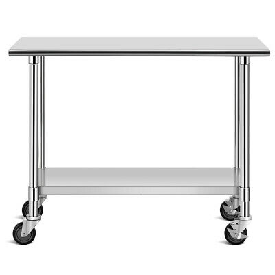 """48"""" x 24"""" Commercial Utility Cart NSF Stainless Steel Adjustable Worktable"""