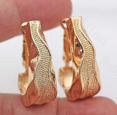 18K Gold Filled Earrings Ear Shape Fashion Concave-convex Hoop Women Party BR