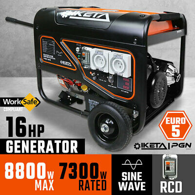 Petrol Generator Sine Wave 8800W Max 16HP RCD Site Camping Portable Power Supply