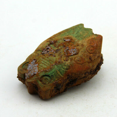 R160 Ancient Chinese Warring States Period Old Jade Rusty Cicada Statue 2.8""