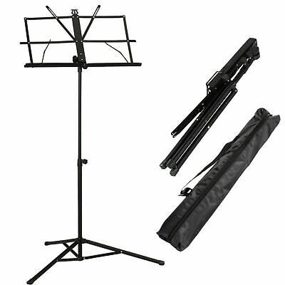 Glarry  Adjustable Folding Music Book Stand  with  Handy Portable Bag Black UK