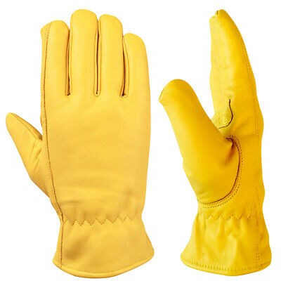 12 Pairs Of Fleece Lined Leather Lorry Drivers Work Gloves Safety High Quality