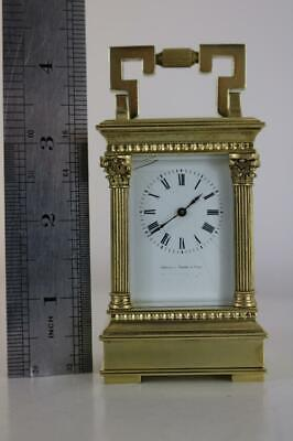 SUPERB MINIATURE CARRIAGE CLOCK antique ITALIAN RETAILER Janetti, Padre e Figli