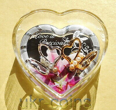 2017 Tanzania Love Is Precious 3D Silver Color Coin Real Pearl Butterfly Orchid