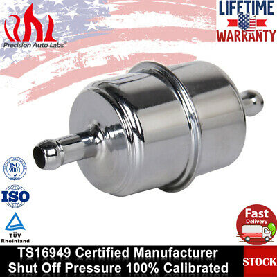 """Chrome Canister Style InLine Fuel Filter 3//8/"""" Hose Carbureted for Chevy Ford"""