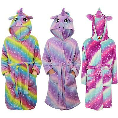 Kids Girls Unicorn Bathrobe Hooded Galaxy Xmas Cosplay Costume Soft Lounge Suit