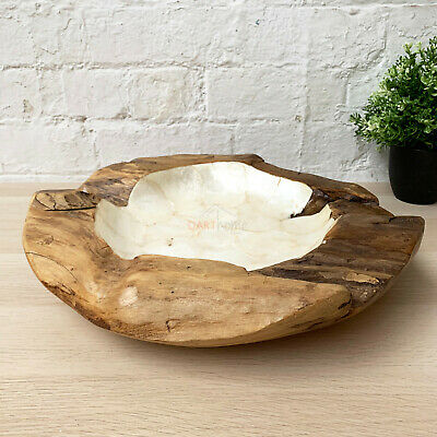 Antique Kitchen Food Hand Carved Teak Root Wood Pearl White Fruit Bowl Medium