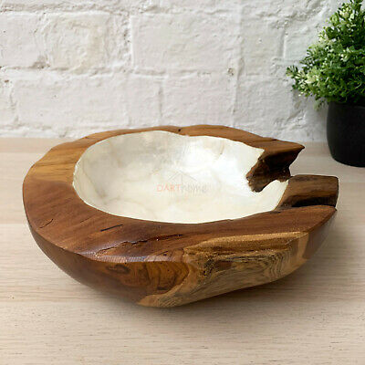 New Antique Kitchen Food Hand Carved Teak Root Wood Pearl White Fruit Bowl Small