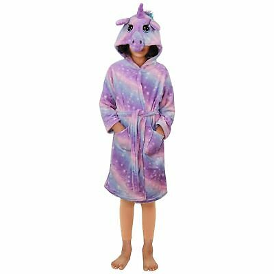 Kids Girls Unicorn Bathrobe Hooded Lilac Galaxy Xmas Cosplay Costume Soft Suit