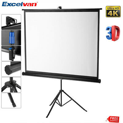 "100"" 4:3 Portable Pull Up Projector Screen For HD Movies Projection Stand Tripod"