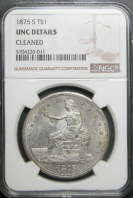 1875-S Trade Dollar NGC UNC Details
