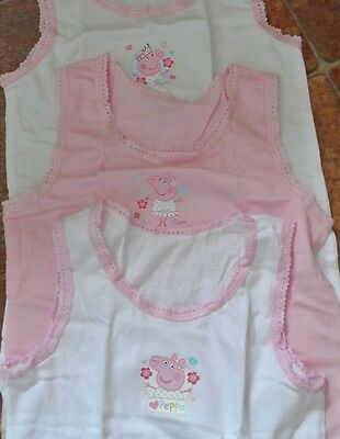 New pack 3 peppa pig vests 5-6