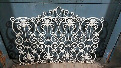Vintage Cast Iron Folding Fireplace Screen Shield Ornate Scroll Decor Victorian