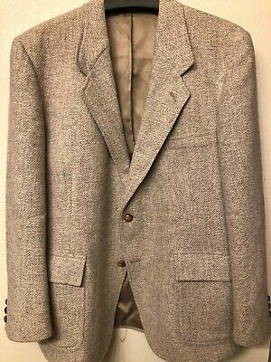 vintage pendleton jacket sport coat size 44 blazer wool beige grey 2 button