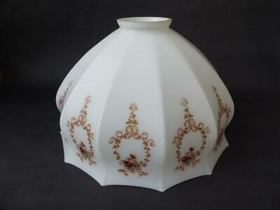 Antique Large Milk Glass Ceiling Light Shade, Fluted Body With Floral Decoration