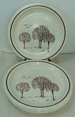 "Homespun Churchill Trees Stonecast 4 Dinner Plates 10"" Staffordshire England EUC"