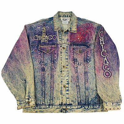 "Vintage Tony Alamo Of Nashville ""Chicago"" Denim Jacket 1980's 1990's Miami Cult"