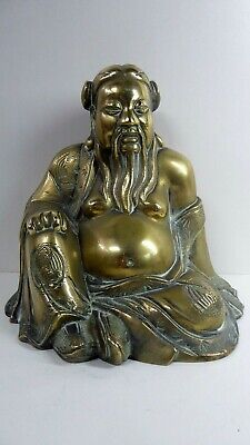 Antique Brass Chinese God Good Fortune Statue