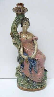 Italian Pottery Vintage Statue Of A Lady Candle Stick Holder Grapevine Figurine