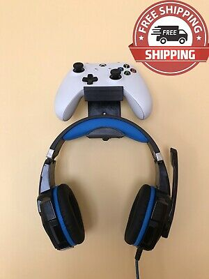 XBOX One PlayStation PS4 Controller+Headset Wall Mount Hanger Holder grey