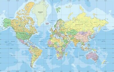 Political World map in Mercator projection labeling Poster 91x61cm  educational