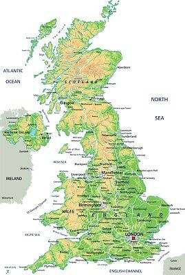 High detailed United Kingdom physical map Quality Poster 91x61cm  educational