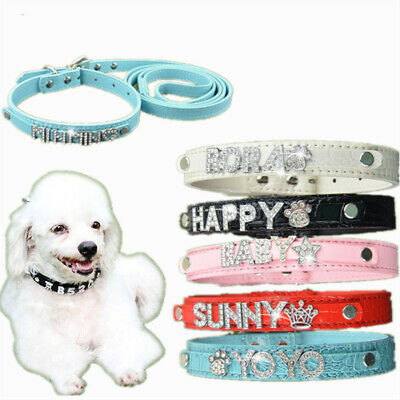 Personalized Crystal Letter Dog Collar Soft Leather Buckle Dog Products