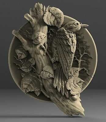 3D STL Model # BIRD ON A TREE# for CNC Aspire Artcam 3D Printer Carving Engraver