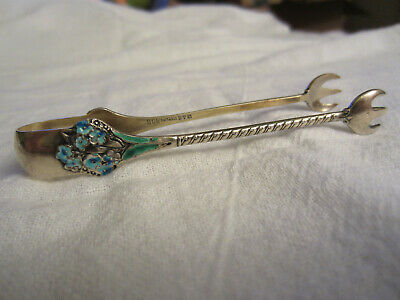 Antique Gorham #808 SUGAR TONGS -Sterling Silver & Gold Wash -Enameled Flowers