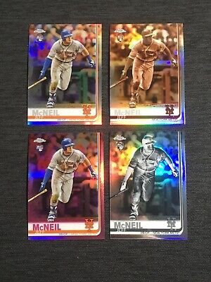 2019 Topps Chrome JEFF McNEIL RC Refractor Lot (4) - Negative Pink Sepia Base