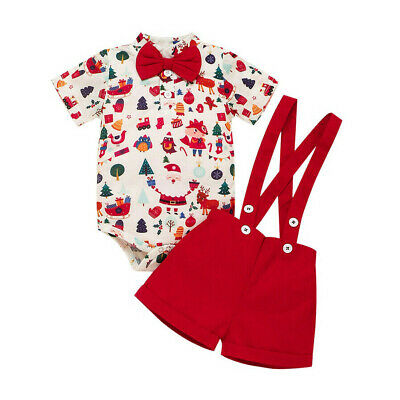 AUNewborn Baby Boy Christmas Outfit Clothes Romper Bodysuit Bib Shorts Xmas 2PCS