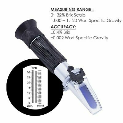 New 0~32% Brix Wort Specific Gravity Refractometer Fruit Beer Wine Sugar Test