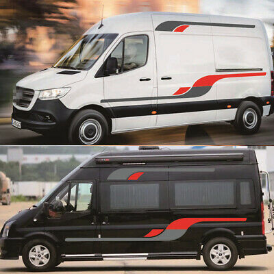 Trailer Camper Van Car Stickers Red+Grey Vinyl Sticker Body Side Trim Kit