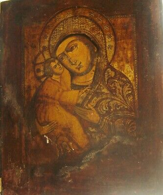 Lovely 18/19th Century Russian Orthodox Icon of the Madonna