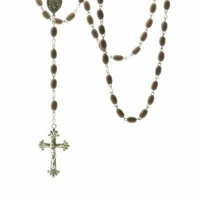 Vintage Czech 5 decade Catholic rosary crucifix cross turned wooden beads