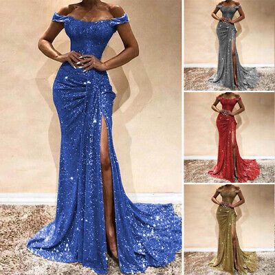Womens Sequin Maxi Long Dress Ladies Off Shoulder Prom Formal Evening Party Gown
